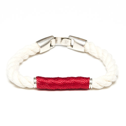 Beacon Bracelet -Ivory/Red/Silver