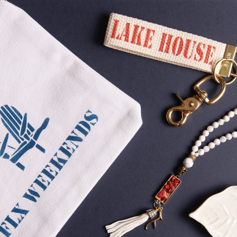 FLX Weekend Pouch, Lake House Key Fob & Coral Beaded Necklace