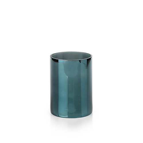 Teal Mercury Glass Hurricane - Medium