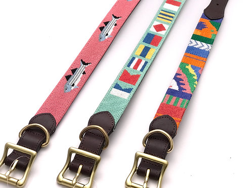 Needlepoint  & Leather Dog Collar By Harding Lane