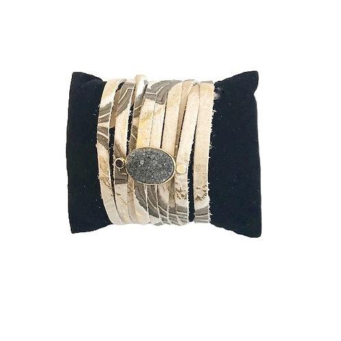 Leather Druzy Bracelet-Grey Multi
