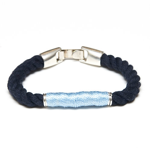 Beacon Bracelet -Navy/Light Blue/Silver