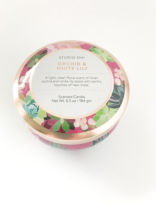 Orchid & White Lily Candle Tin