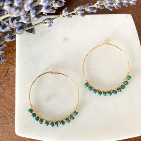 Hoop Earrings with emerald color stones