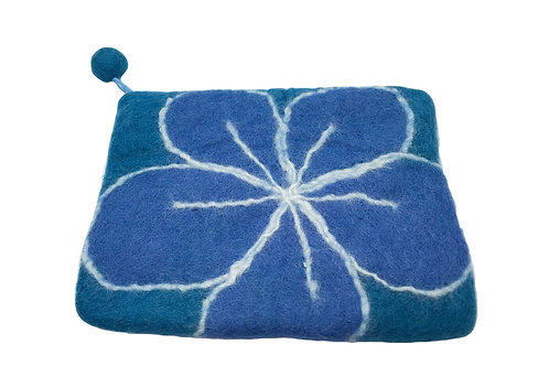 Bianca Felted Pouch - Tufts Blue