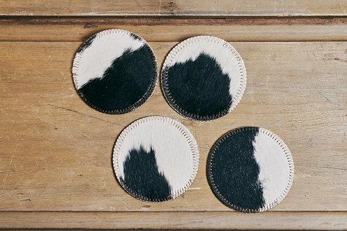 Cowhide Coasters - set of 4