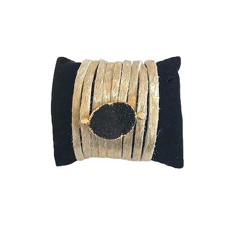 Leather Druzy Bracelet-Black