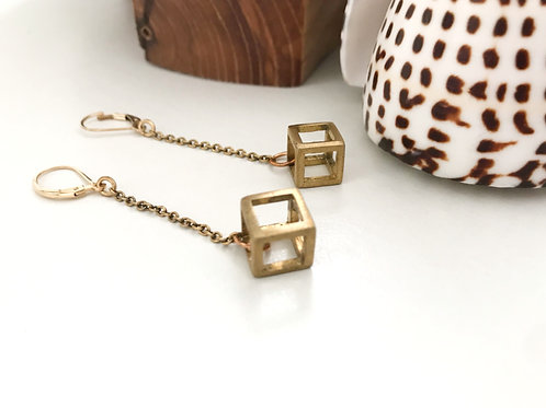 3D Squares Earring