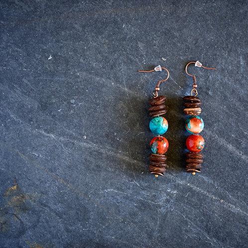 Multi Color Bead & Wood Earrings