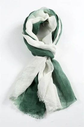 Linen Scarf -Evergreen and White