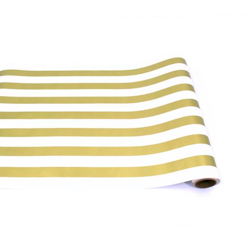 Gold and White Stripe Table Runner