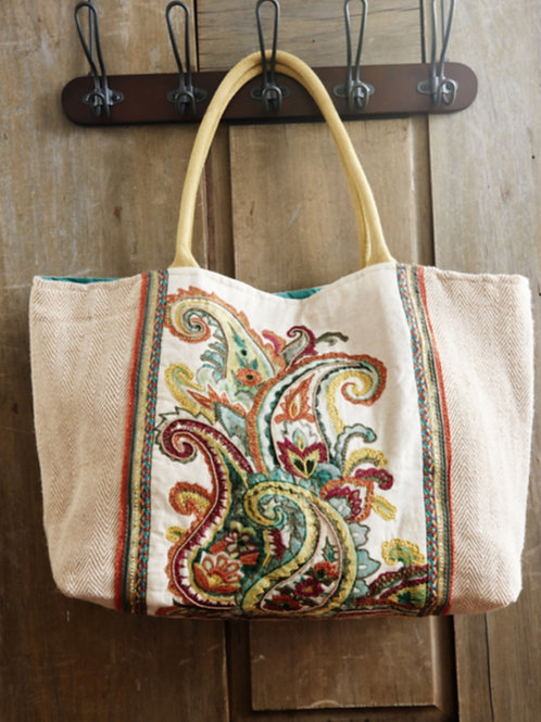 Tote bag for women with paisley embroidery
