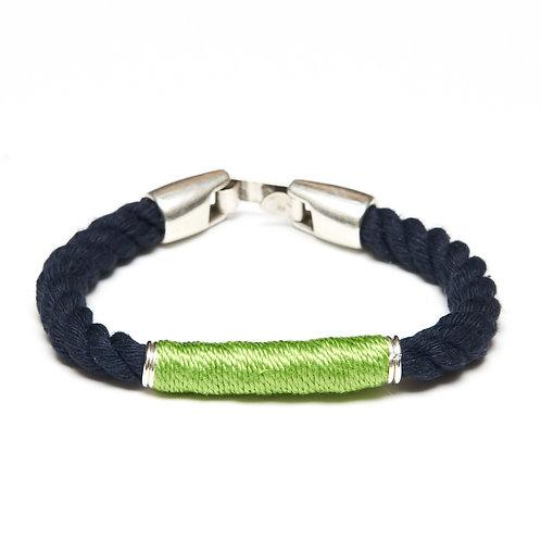 Beacon Bracelet -Navy/Lime/Silver