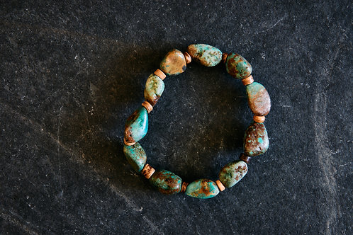 Natural Turq & Wood Bracelet