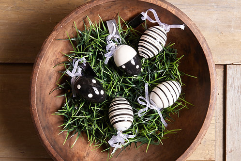 Ceramic Easter Eggs with stripes and polka dots