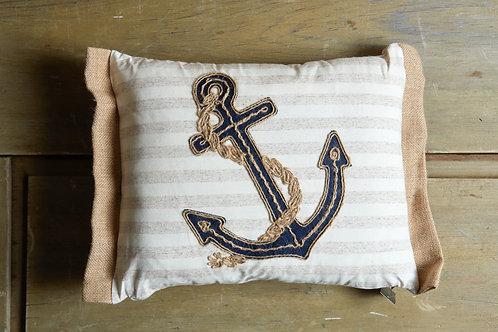 Stripe Anchor Applique Pillow