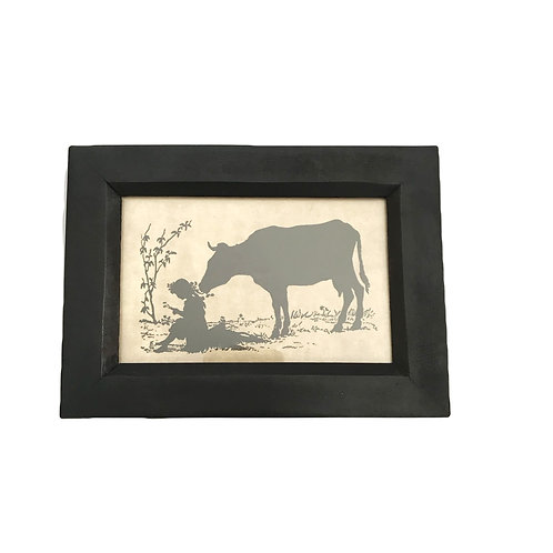 Silhouette Frame - Cow Eating Pigtails