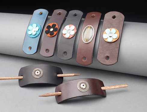 Leather Barrettes