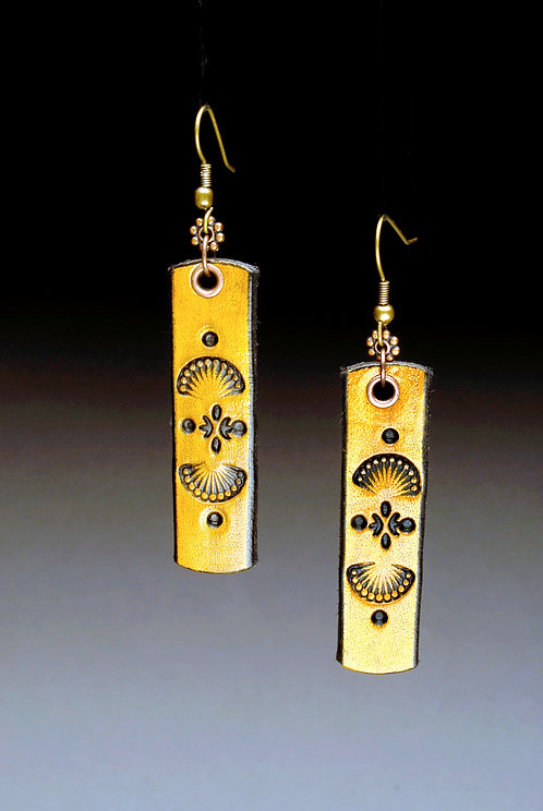 Yellow Hand Tooled Leather Earrings