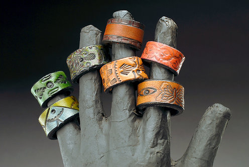 Leather Tooled Rings