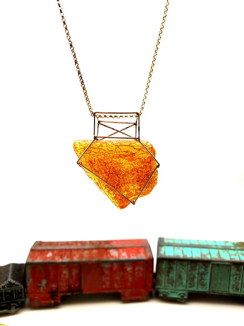 Caged Amber Pendant