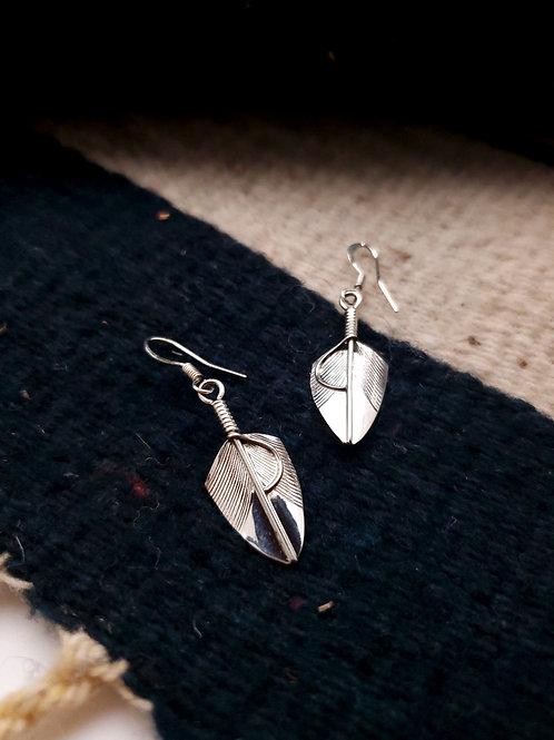Sterling Mini Feather Earrings