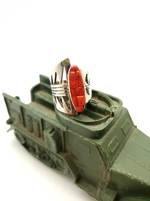 Carved Red Coral Ring