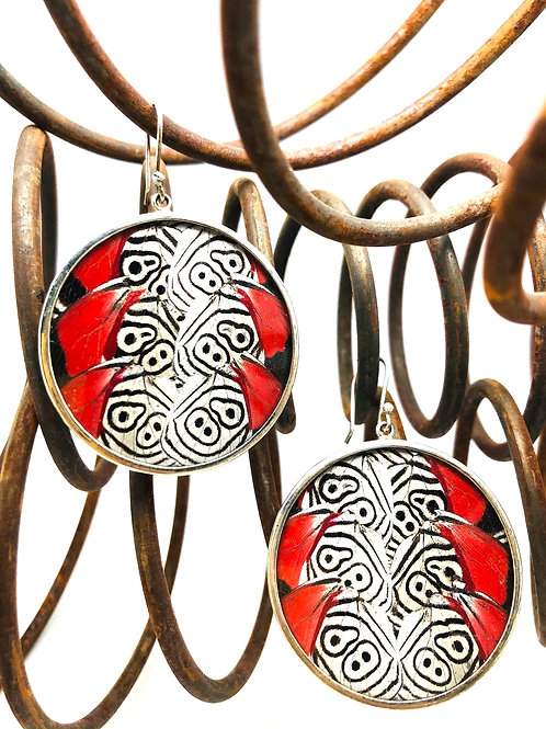 Red Butterfly Round Earrings