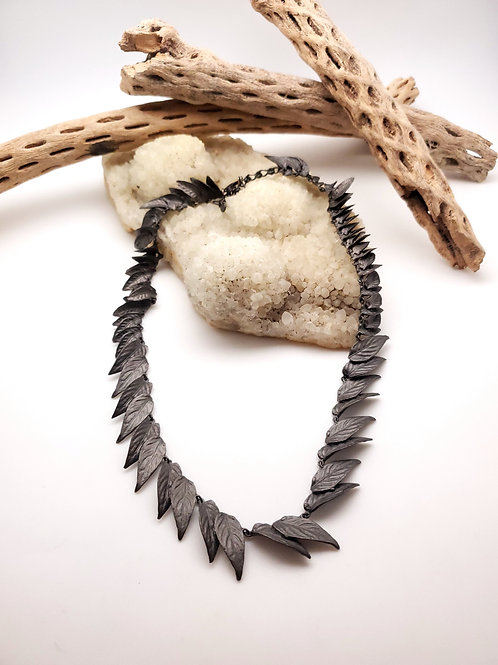 Cast and Oxidized Leaf Necklace