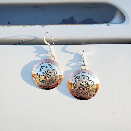 Copper and Silver Stamped Disc Earrings