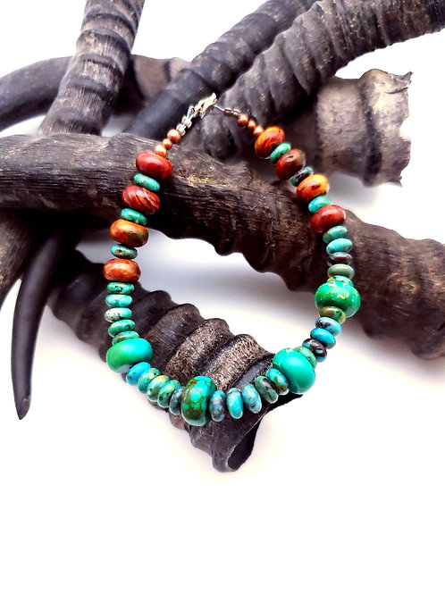Turquoise and Wood Beaded Bracelet