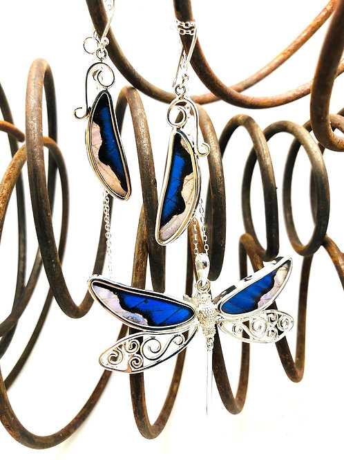 Blue Butterfly and Dragonfly Earring and Necklace