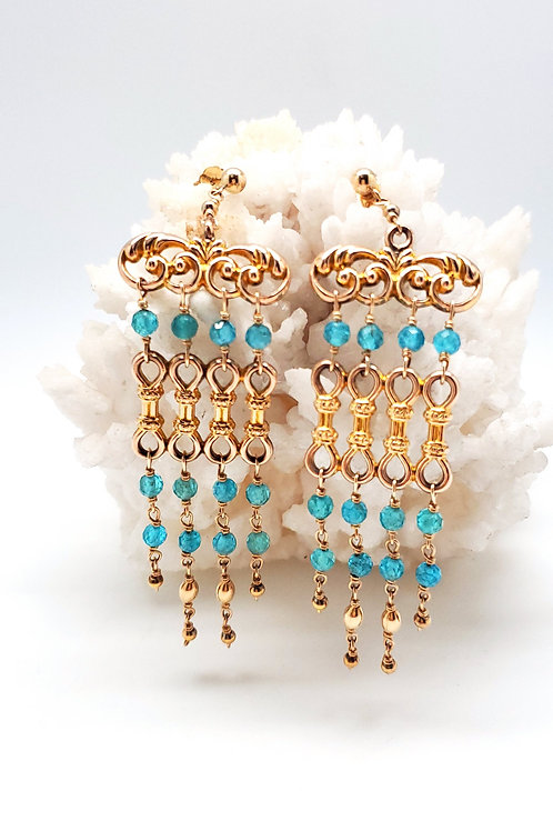 1800's Apatite and Gold Shoulder-duster Stud Earrings
