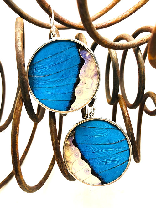 Blue Butterfly Round Earrings
