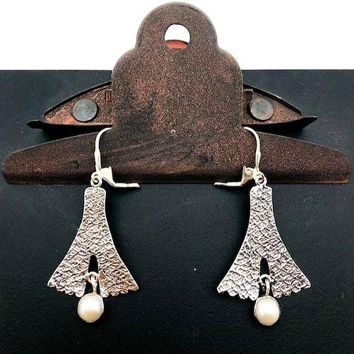 Sterling and Pearl Fan Earrings