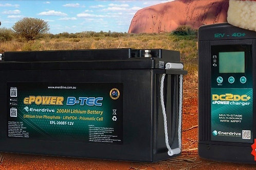 Enerdrive Package - 200Ah B-Tec Lithium-Ion with BONUS 40A+ DC2DC Charger