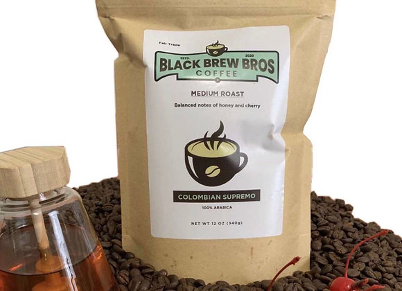 12 Oz Medium Roast Colombian Supremo whole Bean