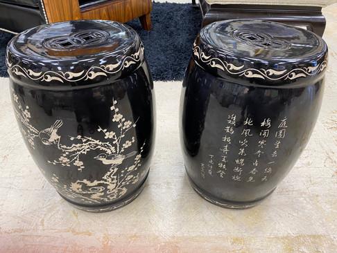 Black & Beige Asian Garden Stools