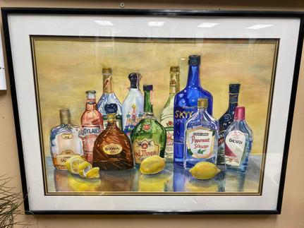 Liquor Bottles & Lemons Watercolor (Signed) 32 x 24