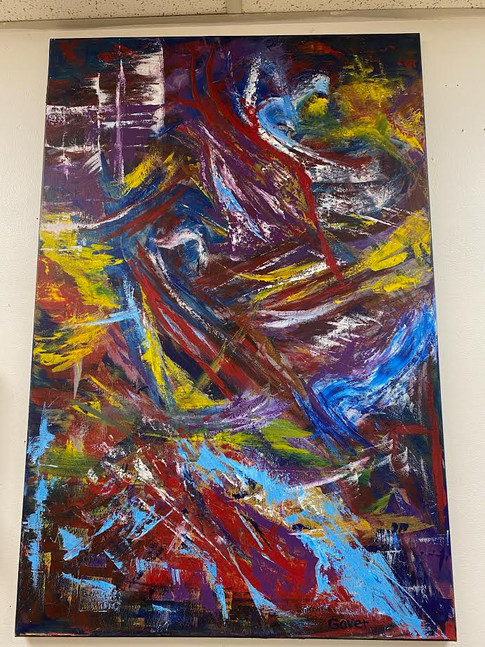 Abstract Acrylic by Local Artist John Gover 24 x 36