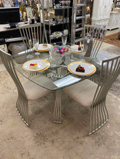 """45"""" Glass & Metal Table with 4 Chairs"""