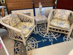 2 White Ratan Chairs w/ Blue & White Cushions