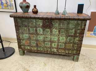 Antique Indian Wood & Iron Trunk Verde Green Color