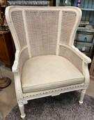 White Rattan Wingback Chair