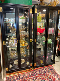 Black & Glass Display Cabinets w/ Brass Accents
