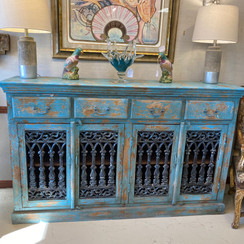 4 Drawer 4 Door Distressed Turquoise Wood & Iron Sideboard