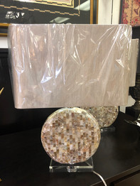 Mother of Pearl Circle Base Lamp. 2 Available