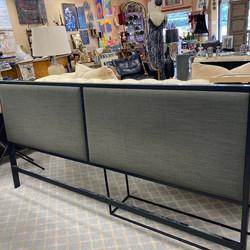 Uphpolstered Gray Linen & Black Metal King Bed Frame
