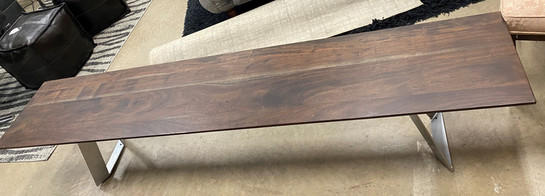 Solid Wood Bench w/ Metal Legs