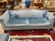 Blue Velvet Camelback Sofa by Baker